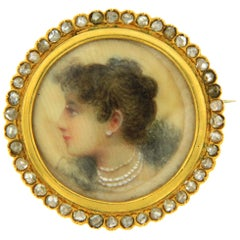Antique Painted Miniature Diamond Brooch
