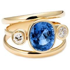 Sri Lankan Sapphire and White Diamond 3-Stone Ring
