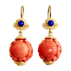 Carved 19th Chinese Antique Coral & Lapis Lazuli 18 Karat Gold Bespoke Earrings