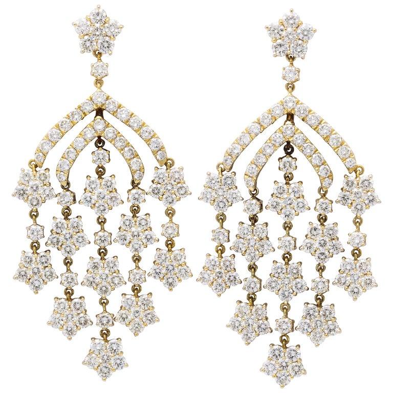 Yellow Gold Diamond Chandelier Earrings