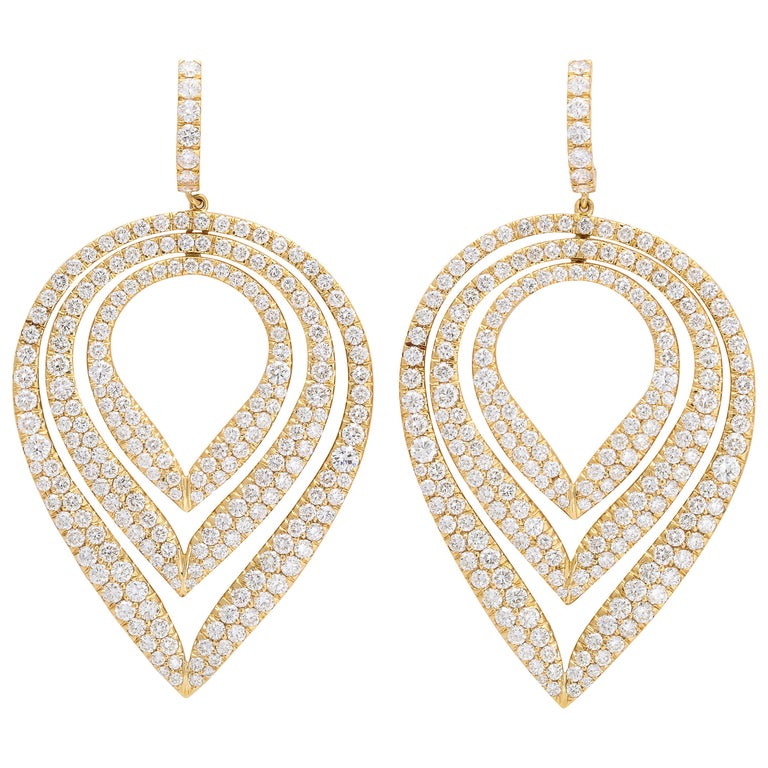 Yellow Gold & Diamond Ear Pendant Earrings