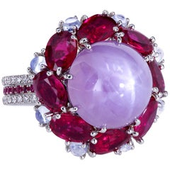 Leon Megé GIA Cert Natural Cabochon Star Sapphire Ruby Diamond Moonstone Ring