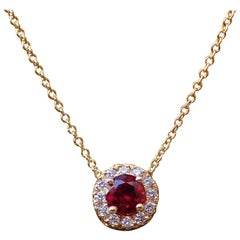 18 Karat Gold Pendant with 0.48 Carat Chatham Ruby and 0.09 Carat of Diamond