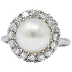 Vintage 1960s 0.50 Carat Diamond Cultured Pearl Platinum Cluster Ring