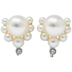 Retro Diamond Cultured Pearl Platinum Earrings