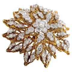 Platinum and 18 Karat Gold Sunburst Design Brooch with Diamonds, circa 1960