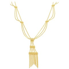 100% Authentic Tiffany & Co. Solid 18 Karat Yellow Gold Tassel Necklace 13.2g