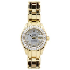 Yellow Gold Rolex Pearlmaster Mother of Pearl Diamond Dial with Diamond Bezel