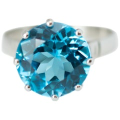 1940s 8.5 Carat London Blue Topaz Solitaire and Platinum Ring