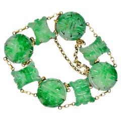 Art Nouveau Carved Jade 14 Karat Gold Link Bracelet