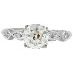 Retro 1.69 Carat Diamond Platinum Engagement Ring GIA