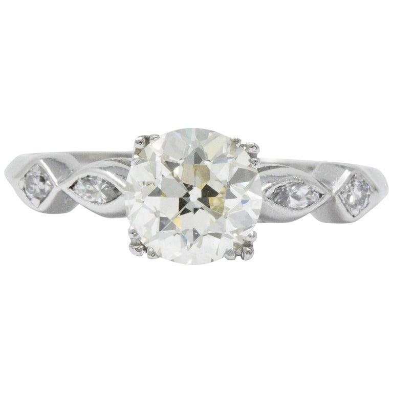 Retro 1 69 Karat Diamant Platin Verlobungsring Gia Im Angebot Bei