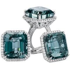 27.30 Carat 'GIA' Aquamarine Emerald Cut 2.50 Total Diamond Weight Cocktail Ring