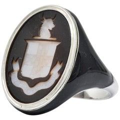 Art Deco Intaglio Agate Enamel Platinum Signet Unisex Ring