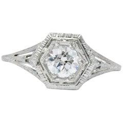 Art Deco 0.51 Carat Diamond 18 Karat White Gold Engagement Ring