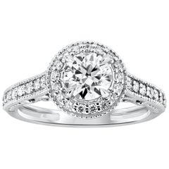Antique-Style 0.82 Carat Round Diamond Halo Engagement Ring
