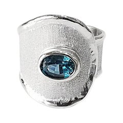 Yianni Creations 1.60 Carat Blue Topaz Fine Silver and Palladium Ring
