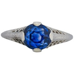 Edwardian 2.91 Carat No Heat Ceylon Sapphire 18 Karat White Gold Ring AGL