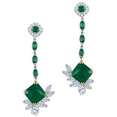 6.96 Carat Pair of Colombian Emeralds, 2.65 Diamond Total Weight, Drop Earrings