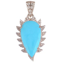 Meghna Jewels Claw Turquoise Diamonds Pendant