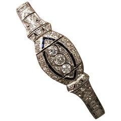 Art Deco Platinum Diamond and Sapphire Bracelet 3.5 Carat Total Weight