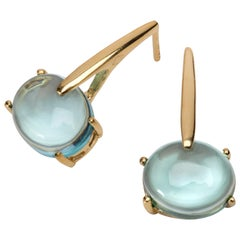 Maviada's 18 Karat Yellow Gold Vermeil Aqua Blue Quartz, Gold Long Drop Earrings