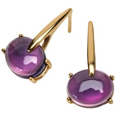 Maviada's 18 Karat Gold Vermeil Purple Amethyst Quartz, Gold Long Earrings