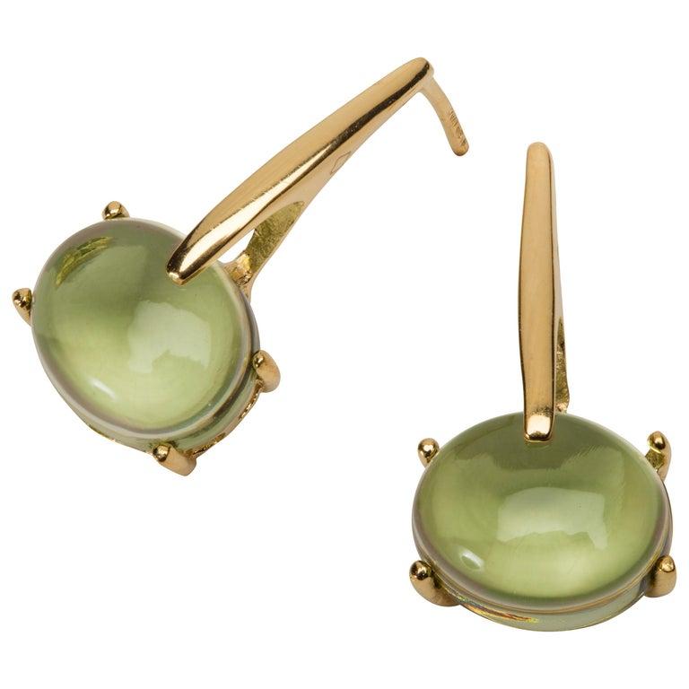 Maviada's 18 Karat Yellow Gold Vermeil Green Peridot Quartz, Gold Long Earrings