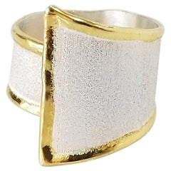 Yianni Creations Fine Silver Palladium Coated 24 Karat Gold Rim Triangular Ring