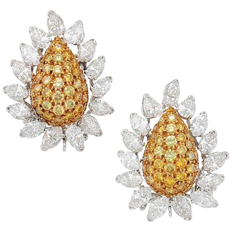 Yellow Diamond and Diamond Earrings, Van Cleef & Arpels