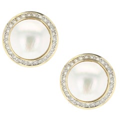 White Mabe Pearl and Round Diamond Earrings, Yellow Gold