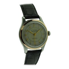 Eterna Stainless Steel and Gold Mid Size Wristwatch, circa 1940s