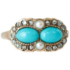 1880s Victorian Turquoise, Pearl, Diamond and 9 Karat Yellow Gold Ring