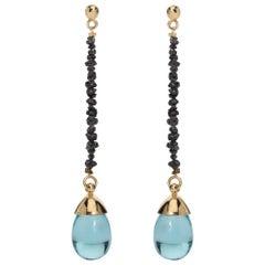 Maviada's Black Rough Cut Diamond Aqua Blue Quartz 18 Karat Gold Drop Earrings