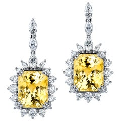 38.77ctw Yellow Sapphire & 6ctw Round Brilliant Marquise Diamond Drop Earrings