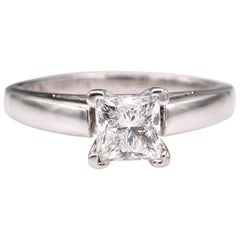 Leo Diamond Engagement Ring Princess 0.72 Carat H SI1 14 Karat White Gold