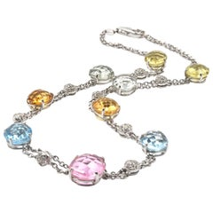 14 Karat White Gold Multi-Gemstone and Diamond Necklace