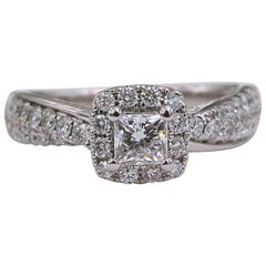 Tolkowsky Diamond Engagement Ring Princess 1.20 Carat F SI2 14 Karat White Gold