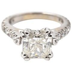 3.10 Carat Radiant Diamond 18 Karat White Gold Engagement Ring