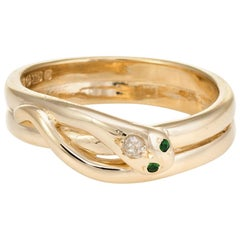 Vintage Snake Ring 9 Karat Yellow Gold Diamond Emerald Alternative Wedding Band
