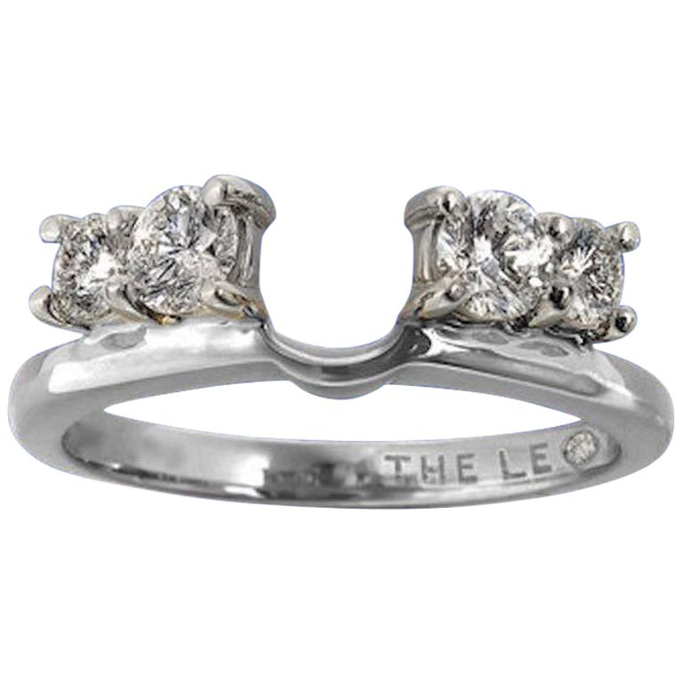 Leo Diamond Wedding Band 3 4 Tcw Enhancer Insert Ring 14k White Gold Round Cuts
