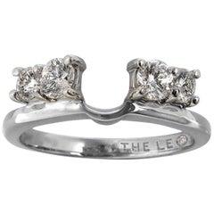 Leo Diamond Wedding Band 3/4 tcw Enhancer Insert Ring 14k White Gold Round Cuts