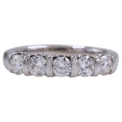Leo Diamond Wedding Band Round Five-Stone 0.98 Carat 14 Karat White Gold