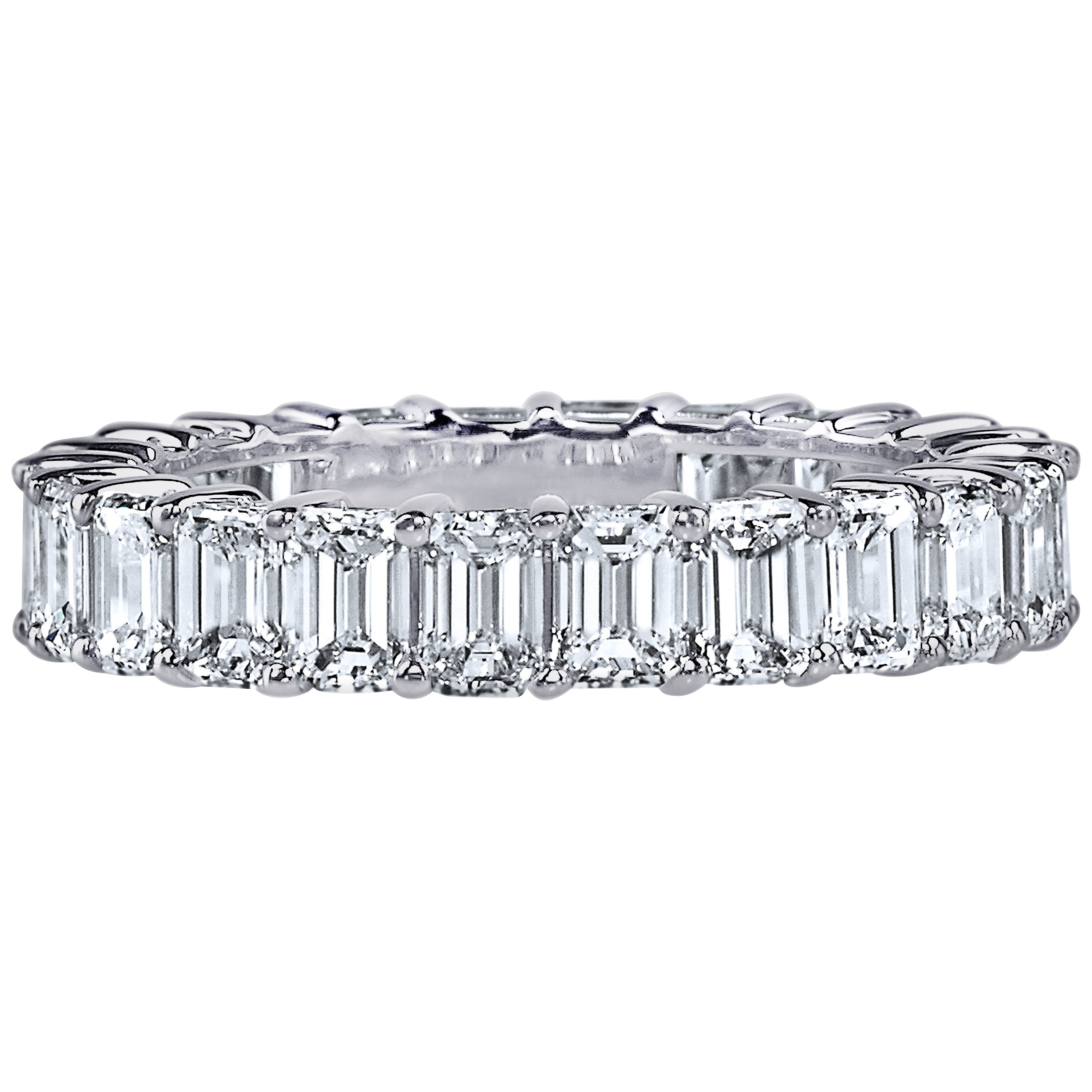 GIA Certified 6.00 Carat Emerald Cut Diamond Ring Platinum Eternity Band