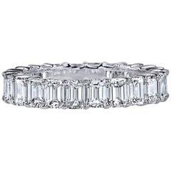 4 Carat Emerald Cut Diamond Ring Platinum Eternity Band