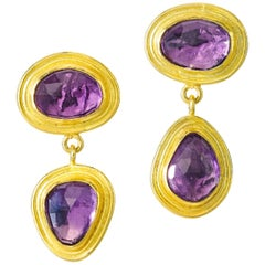 Amethyste Yellow Gold 22 Karat Gold 18 Karat Gold Dangle Earrings