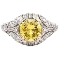 Rare 1.90 Carat Fancy Intense Yellow Diamond Custom French Ring