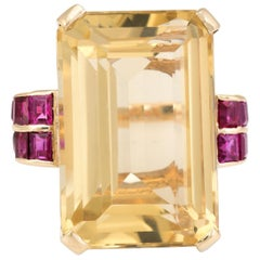 Citrine Ruby Cocktail Ring Vintage 14 Karat Gold Large Statement Ring Jewelry