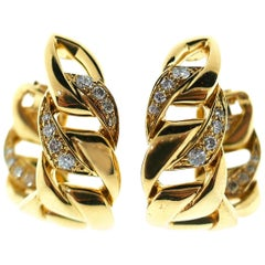Cartier 18 Karat Yellow Gold and Diamond Hoop Clip-On Earrings