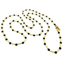 Designer David Yurman Onyx and Gold Bar Long Chain Necklace 18 Karat Gold
